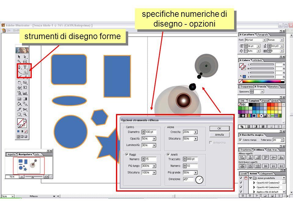 strumenti di disegno forme specifiche numeriche di disegno - opzioni
