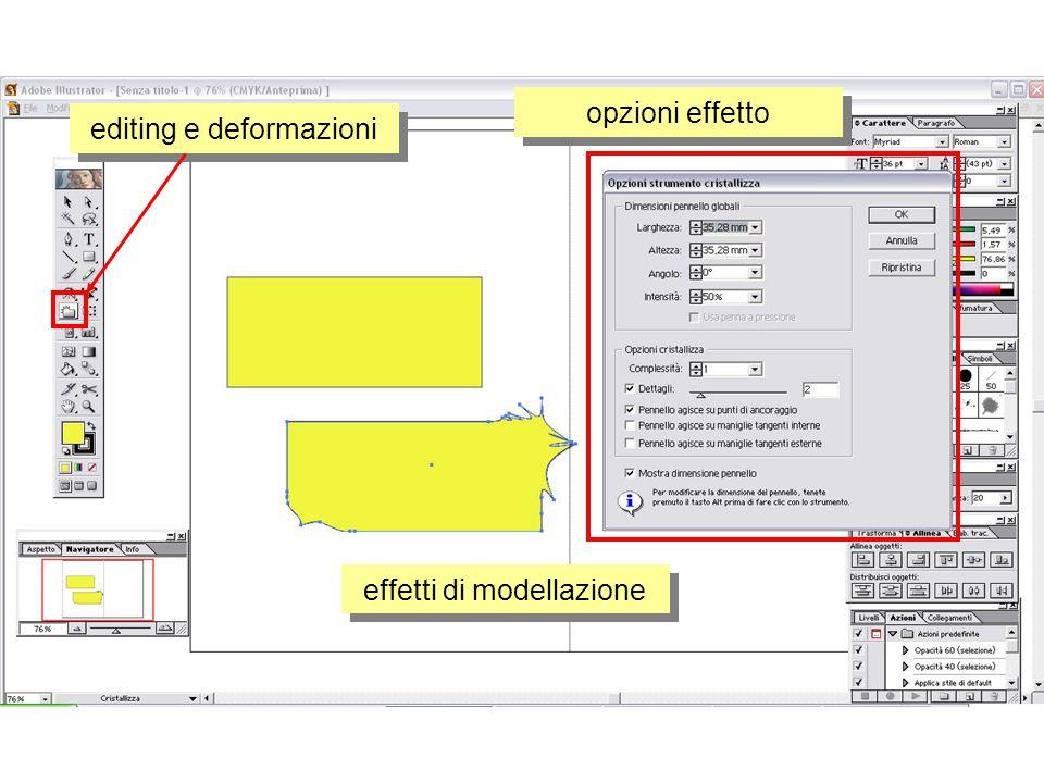 editing e deformazioni effetti di modellazione opzioni effetto