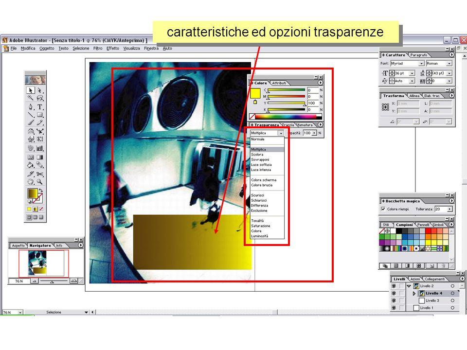 caratteristiche ed opzioni trasparenze