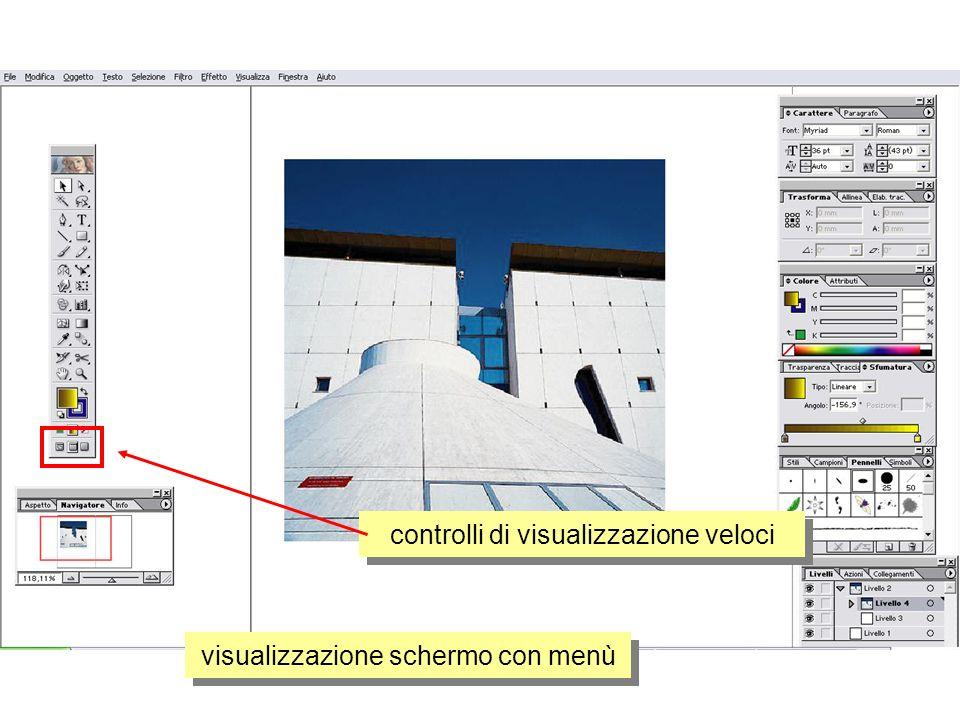 controlli di visualizzazione veloci visualizzazione schermo con menù