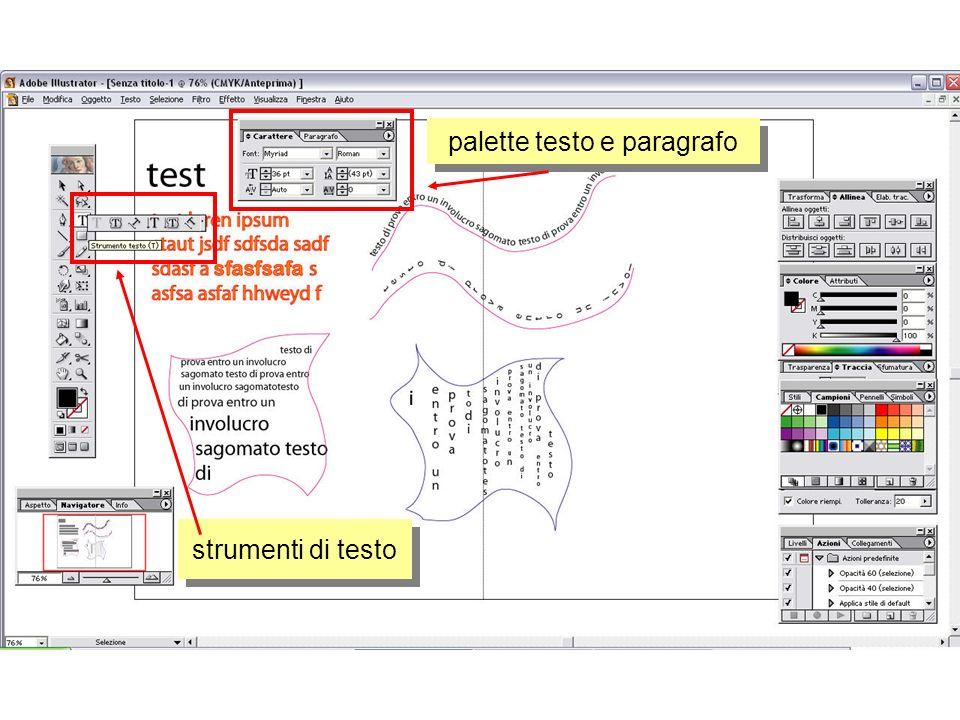 strumenti di testo palette testo e paragrafo