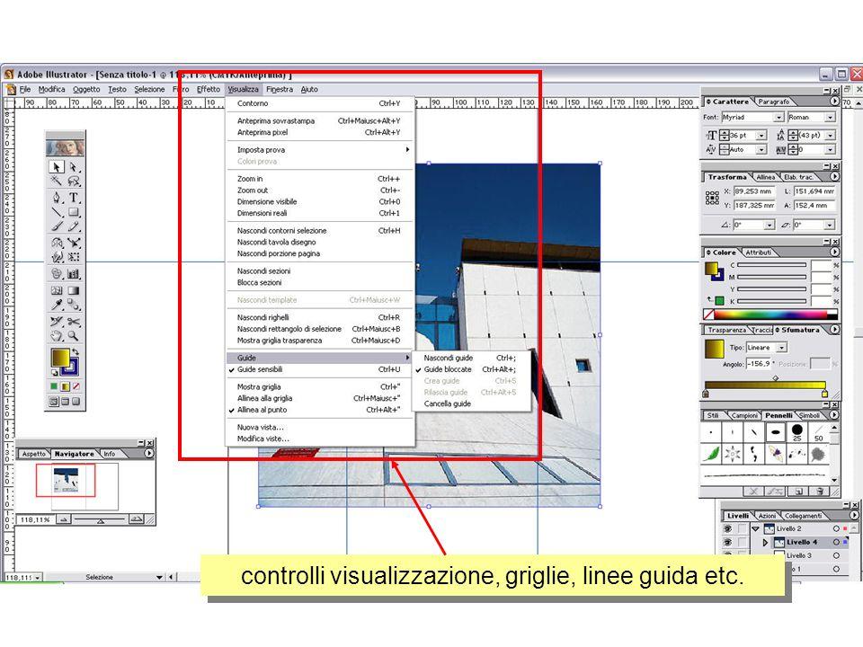 controlli visualizzazione, griglie, linee guida etc.