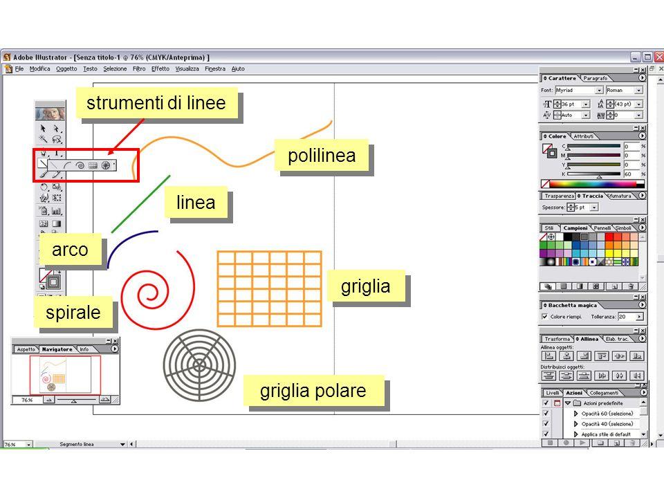 strumenti di linee polilinea linea arco spirale griglia polare griglia