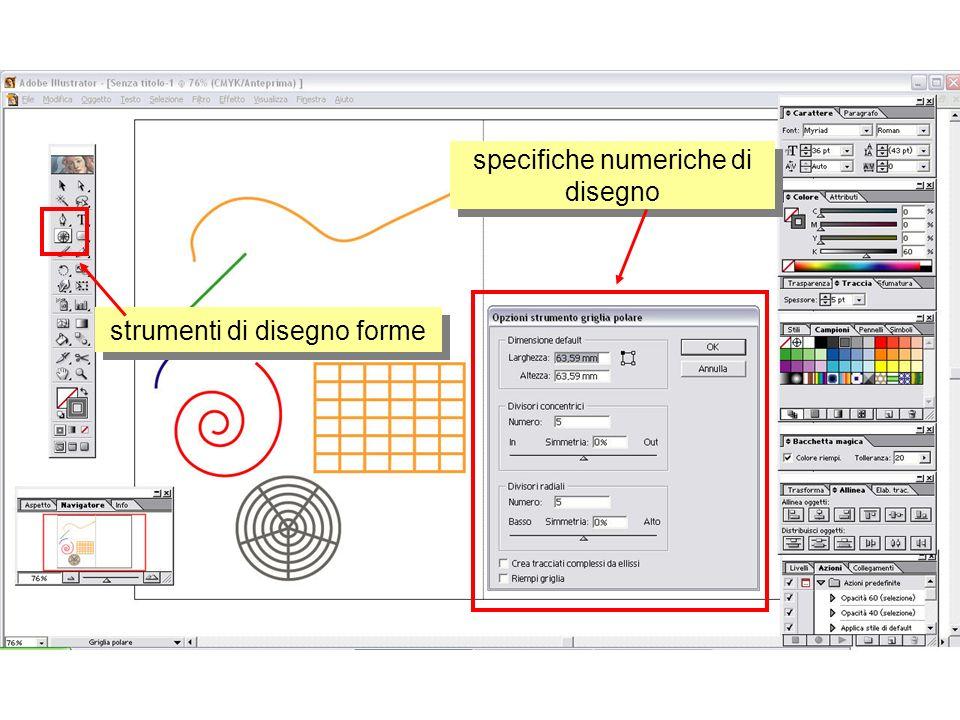 dimensioni e posizione aspetto tracciato opzioni colori e di campioni