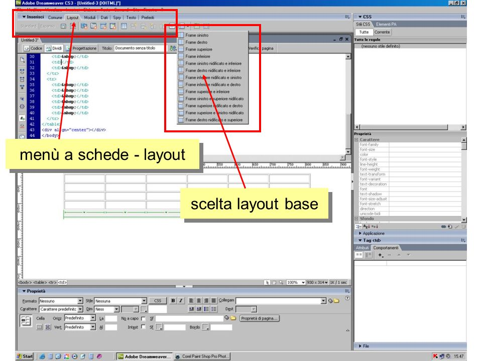 menù a schede - layout scelta layout base