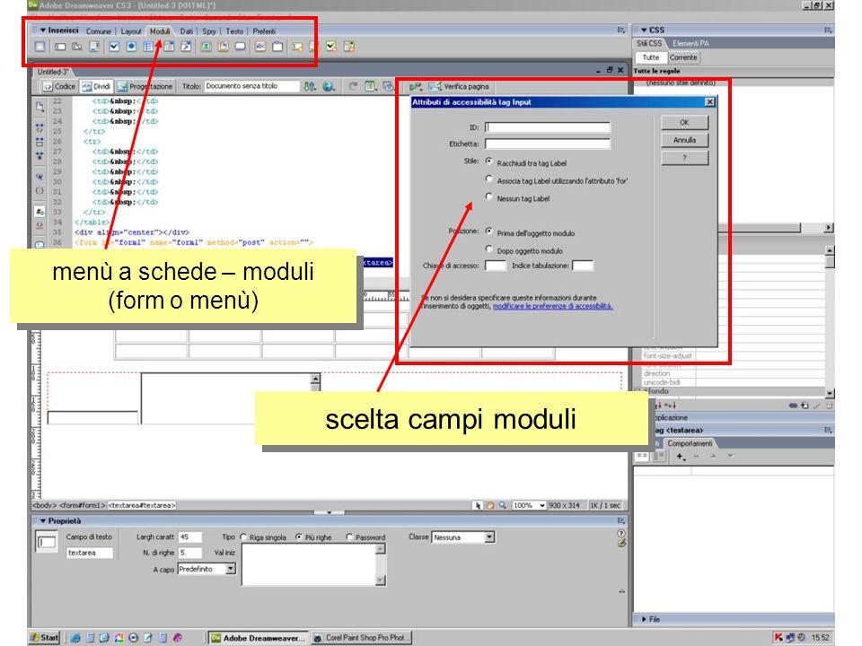menù a schede – moduli (form o menù) scelta campi moduli