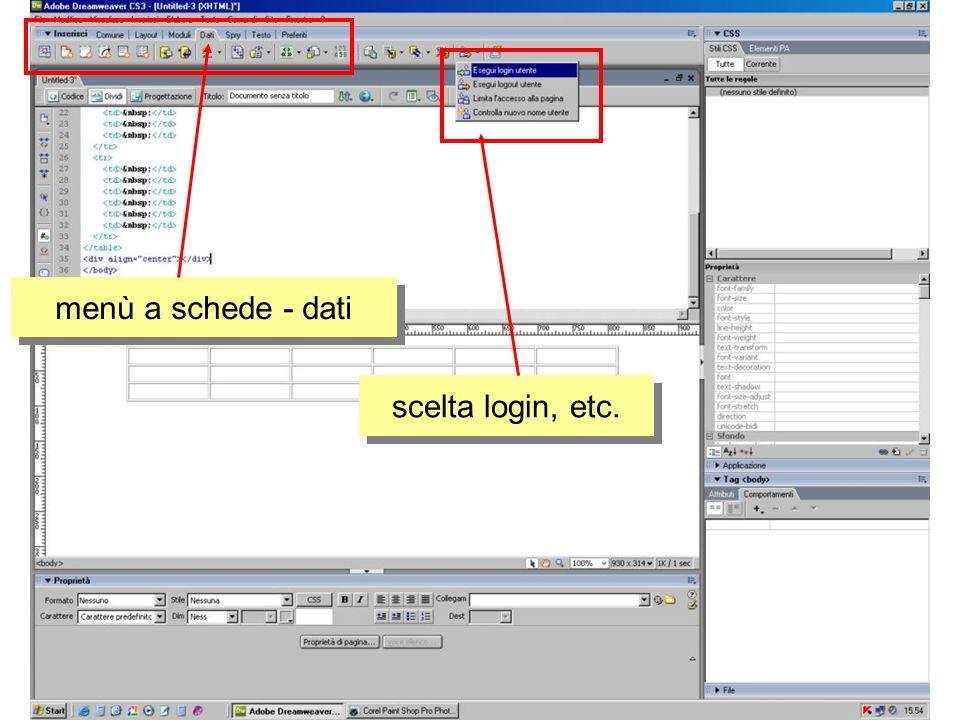 menù a schede - dati scelta login, etc.