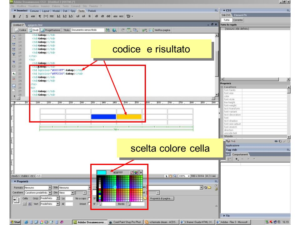 codice e risultato scelta colore cella