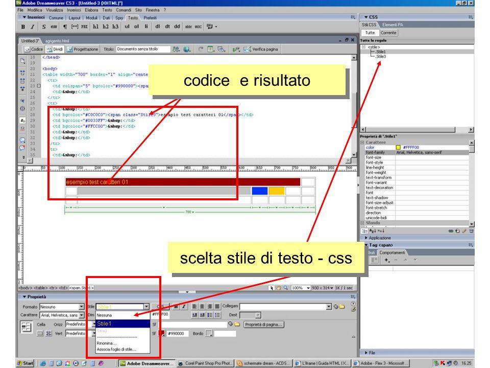 scelta stile di testo - css codice e risultato