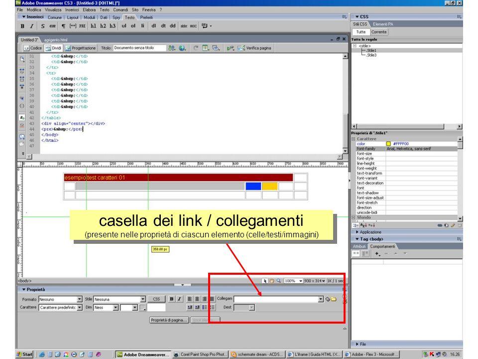 casella dei link / collegamenti (presente nelle proprietà di ciascun elemento (celle/testi/immagini)