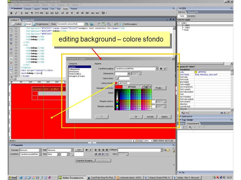 editing background – colore sfondo