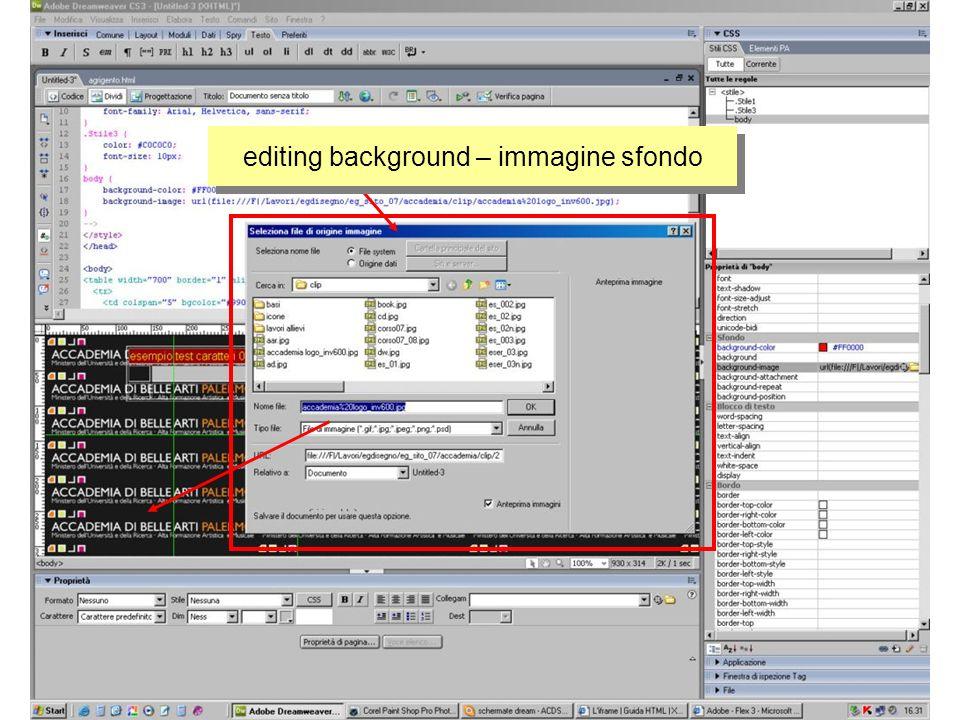 editing background – immagine sfondo