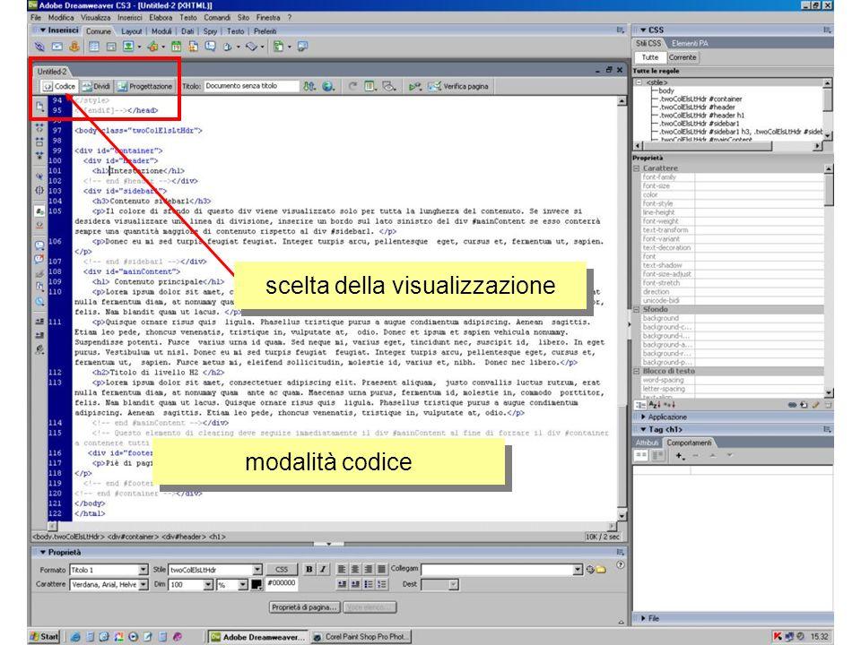 modalità codice scelta della visualizzazione
