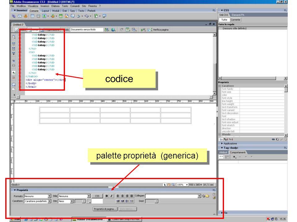 tabella codice palette proprietà elemento tabella