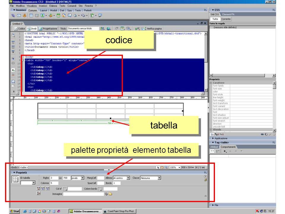 palette proprietà elemento cella codice cella