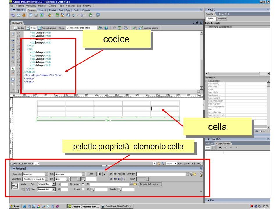 codice e risultato editing e scelta colore testo