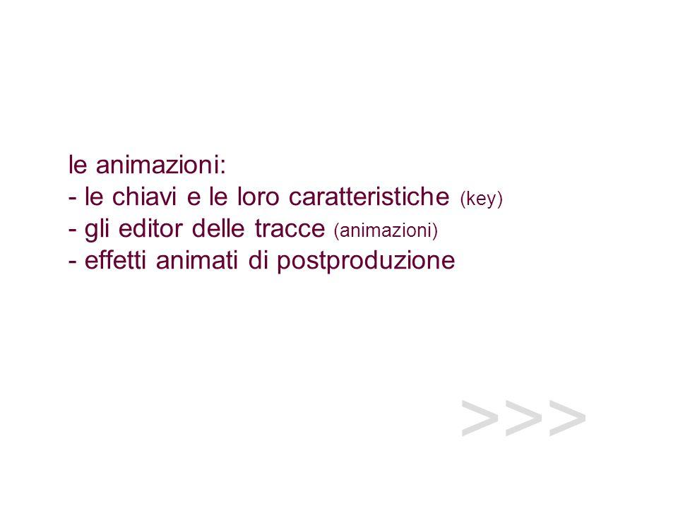 >>> le animazioni: - le chiavi e le loro caratteristiche (key) - gli editor delle tracce (animazioni) - effetti animati di postproduzione