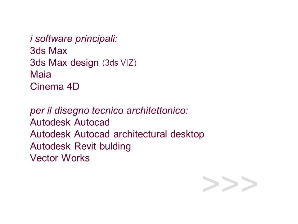 >>> i software principali: 3ds Max 3ds Max design (3ds VIZ) Maia Cinema 4D per il disegno tecnico architettonico: Autodesk Autocad Autodesk Autocad architectural desktop Autodesk Revit bulding Vector Works
