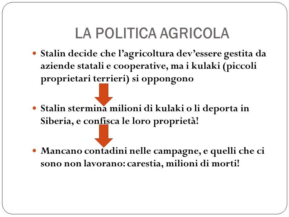 LA POLITICA AGRICOLA Stalin decide che lagricoltura devessere gestita da aziende statali e cooperative, ma i kulaki (piccoli proprietari terrieri) si
