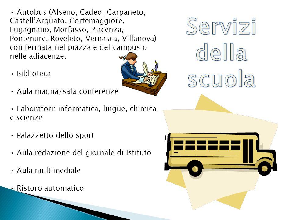 Autobus (Alseno, Cadeo, Carpaneto, CastellArquato, Cortemaggiore, Lugagnano, Morfasso, Piacenza, Pontenure, Roveleto, Vernasca, Villanova) con fermata nel piazzale del campus o nelle adiacenze.