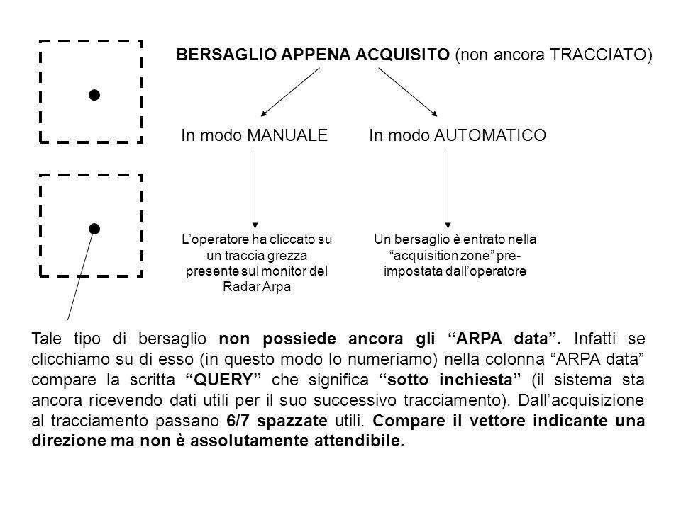 BERSAGLIO APPENA ACQUISITO (non ancora TRACCIATO) In modo MANUALE Loperatore ha cliccato su un traccia grezza presente sul monitor del Radar Arpa In m