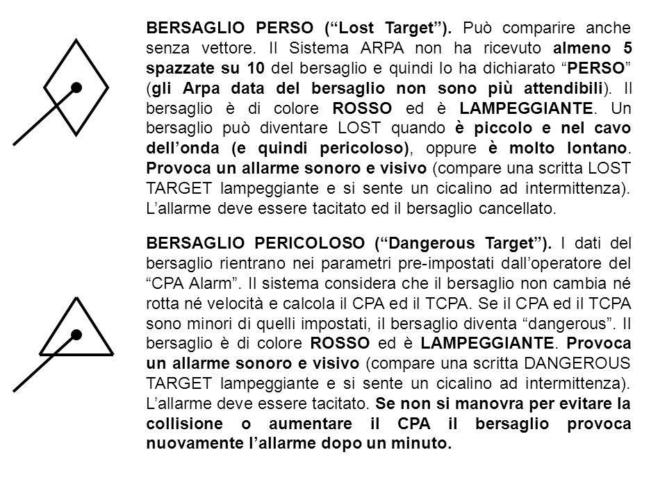 BERSAGLIO PERSO (Lost Target). Può comparire anche senza vettore. Il Sistema ARPA non ha ricevuto almeno 5 spazzate su 10 del bersaglio e quindi lo ha