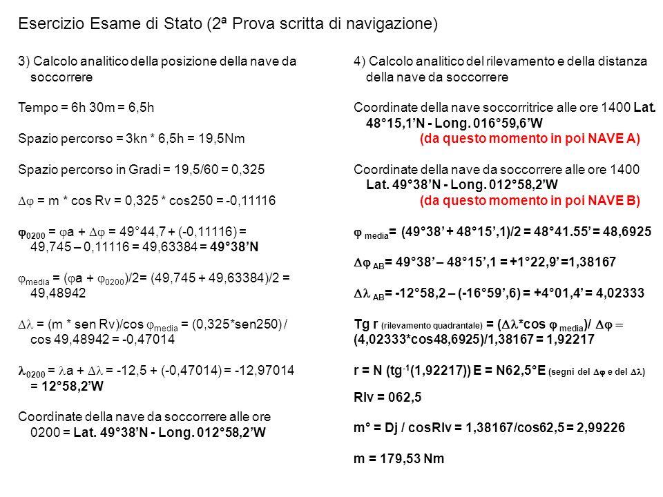 · Esercizio Esame di Stato (2ª Prova scritta di navigazione) 5) Soluzione grafica, con foglio bianco, 2 squadrette, compasso, matita e gomma - decido la scala delle distanze1 cm = 10 Nm - decido la scala delle velocità1 cm = 1 Kn - metto sul foglio le posizioni delle due navi (la nave soccorritrice A rileva la nave da soccorrere B su Rlv = 062,5 Dist = 179,53 Nm) · 17,9 cm 062,5° Nave A Nave B N