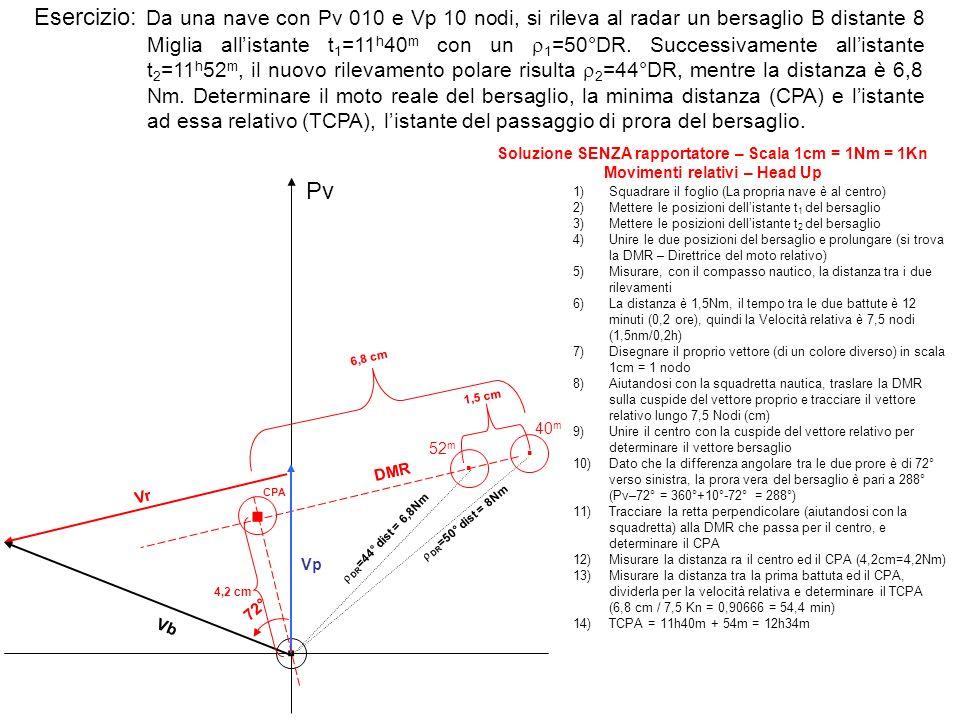 Esercizio: Da una nave con Pv 010 e Vp 10 nodi, si rileva al radar un bersaglio B distante 8 Miglia allistante t 1 =11 h 40 m con un 1 =50°DR.
