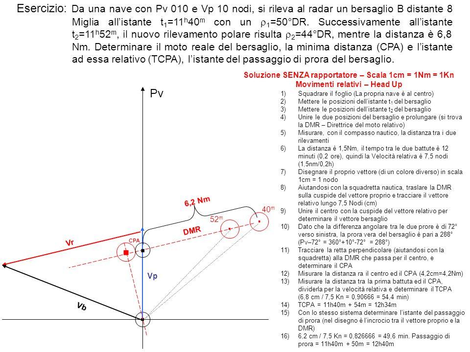 Esercizio: Da una nave con Pv 010 e Vp 10 nodi, si rileva al radar un bersaglio B distante 8 Miglia allistante t 1 =11 h 40 m con un 1 =50°DR. Success
