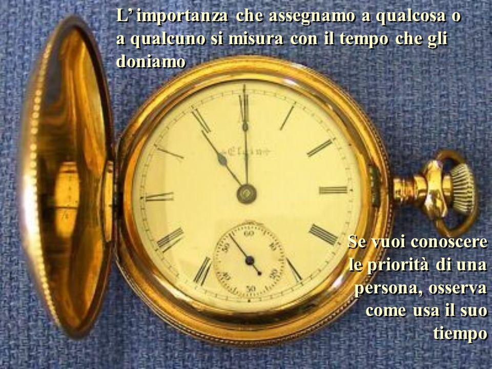 L importanza che assegnamo a qualcosa o a qualcuno si misura con il tempo che gli doniamo Se vuoi conoscere le priorità di una persona, osserva come usa il suo tiempo
