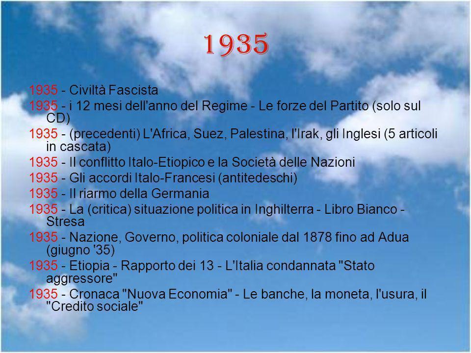 1935 1935 - Civiltà Fascista 1935 - i 12 mesi dell'anno del Regime - Le forze del Partito (solo sul CD) 1935 - (precedenti) L'Africa, Suez, Palestina,