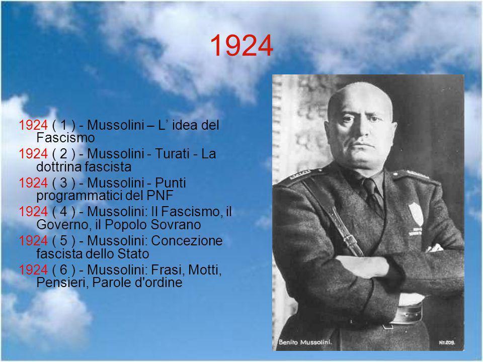 1924 1924 ( 1 ) - Mussolini – L idea del Fascismo 1924 ( 2 ) - Mussolini - Turati - La dottrina fascista 1924 ( 3 ) - Mussolini - Punti programmatici