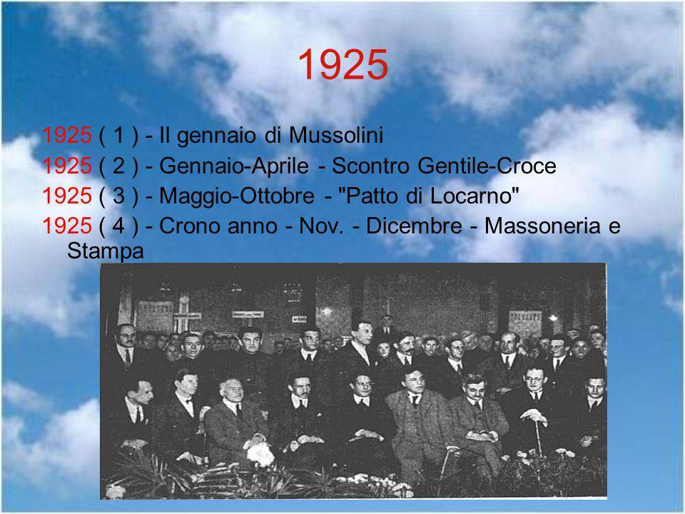 1925 1925 ( 1 ) - Il gennaio di Mussolini 1925 ( 2 ) - Gennaio-Aprile - Scontro Gentile-Croce 1925 ( 3 ) - Maggio-Ottobre -