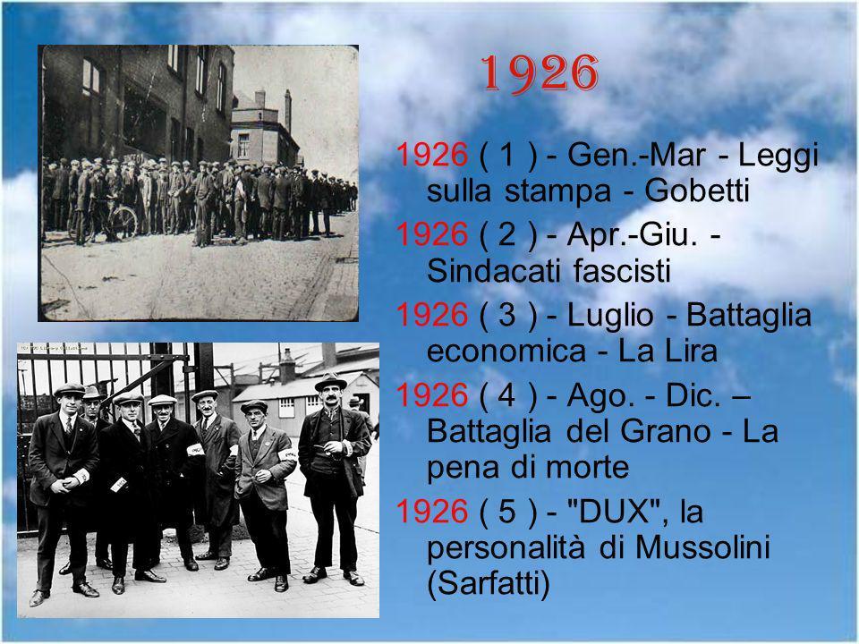 1926 1926 ( 1 ) - Gen.-Mar - Leggi sulla stampa - Gobetti 1926 ( 2 ) - Apr.-Giu. - Sindacati fascisti 1926 ( 3 ) - Luglio - Battaglia economica - La L