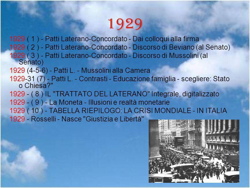 1929 1929 ( 1 ) - Patti Laterano-Concordato - Dai colloqui alla firma 1929 ( 2 ) - Patti Laterano-Concordato - Discorso di Beviano (al Senato) 1929 (