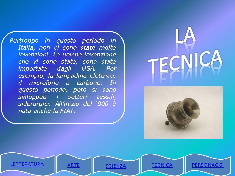 Purtroppo in questo periodo in Italia, non ci sono state molte invenzioni. Le uniche invenzione che vi sono state, sono state importate dagli USA. Per