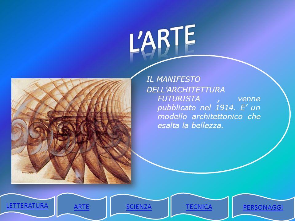 IL MANIFESTO DELLARCHITETTURA FUTURISTA, venne pubblicato nel 1914. E un modello architettonico che esalta la bellezza. LETTERATURA ARTE SCIENZA TECNI