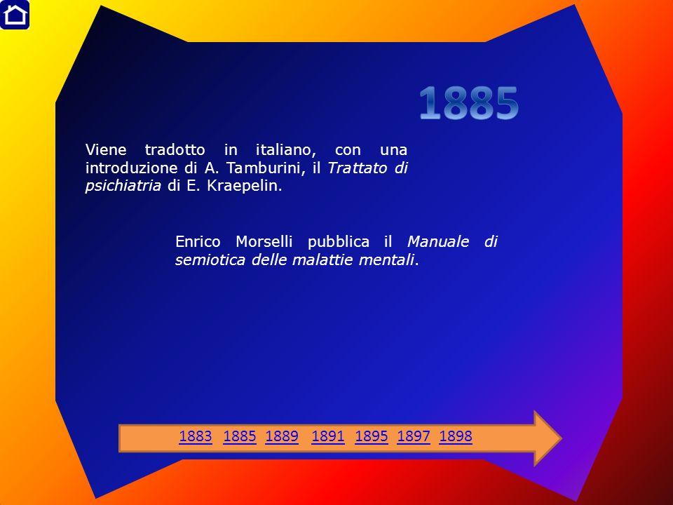 Viene tradotto in italiano, con una introduzione di A. Tamburini, il Trattato di psichiatria di E. Kraepelin. Enrico Morselli pubblica il Manuale di s