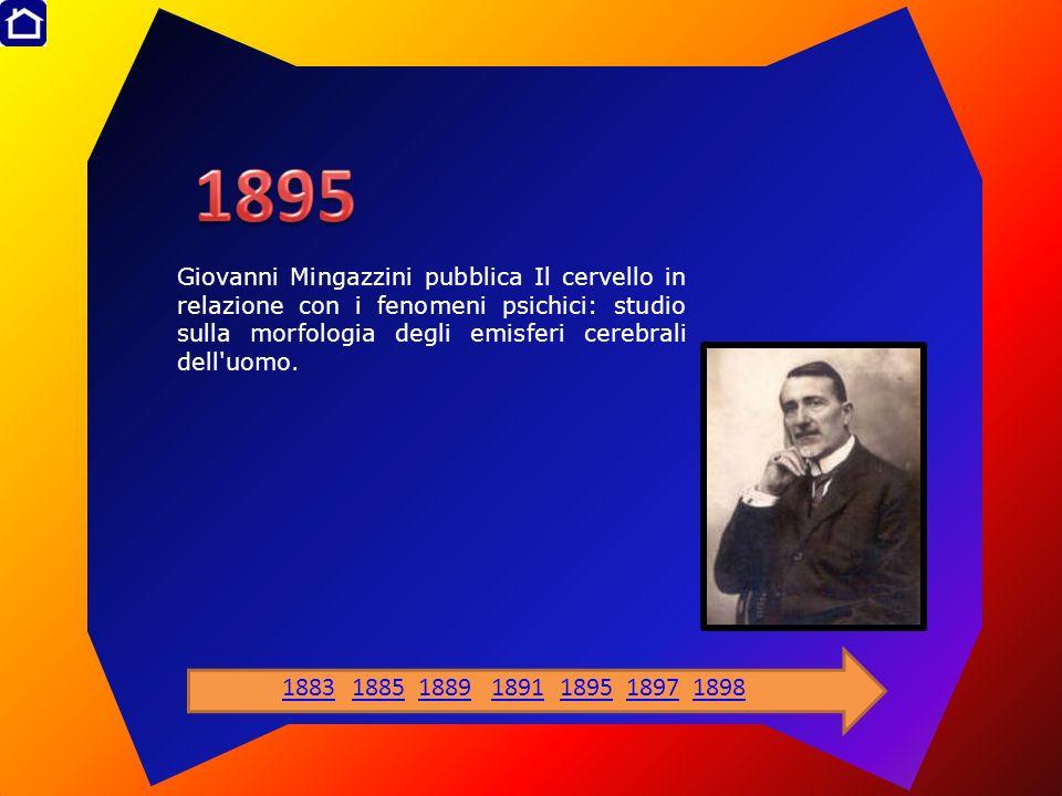 Giovanni Mingazzini pubblica Il cervello in relazione con i fenomeni psichici: studio sulla morfologia degli emisferi cerebrali dell'uomo. 18831885188