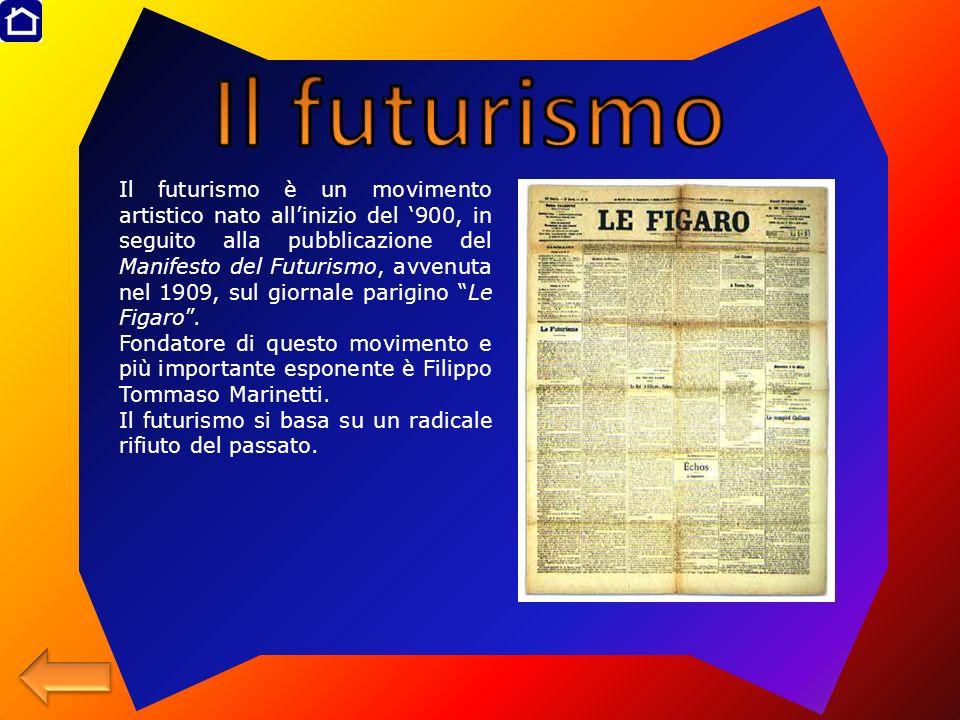Il futurismo è un movimento artistico nato allinizio del 900, in seguito alla pubblicazione del Manifesto del Futurismo, avvenuta nel 1909, sul giorna