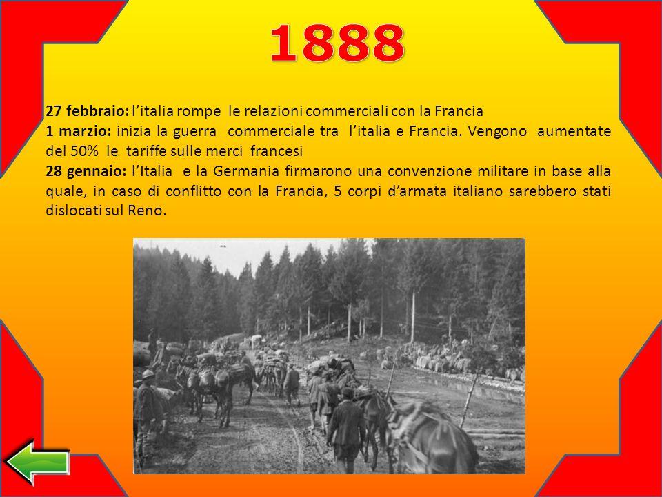 27 febbraio: litalia rompe le relazioni commerciali con la Francia 1 marzio: inizia la guerra commerciale tra litalia e Francia.