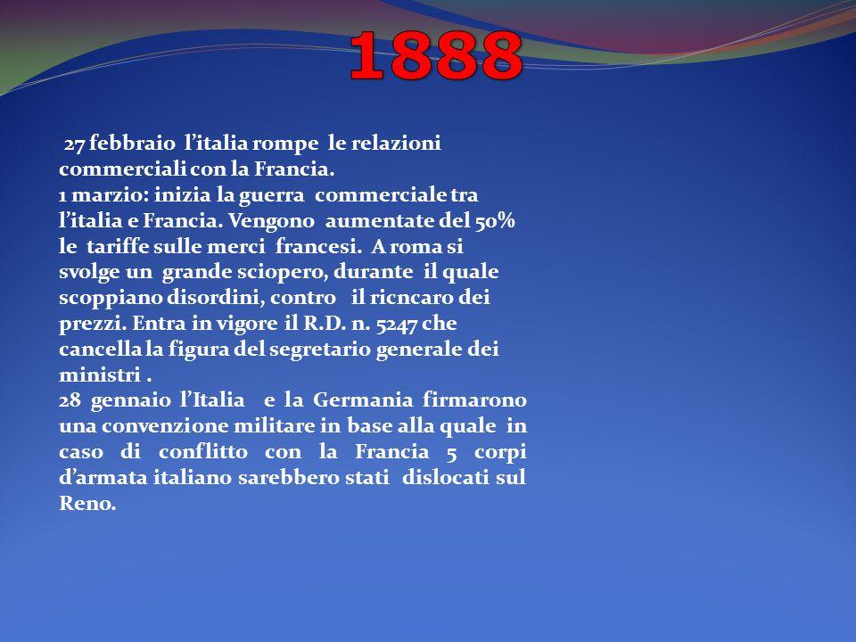27 febbraio litalia rompe le relazioni commerciali con la Francia.