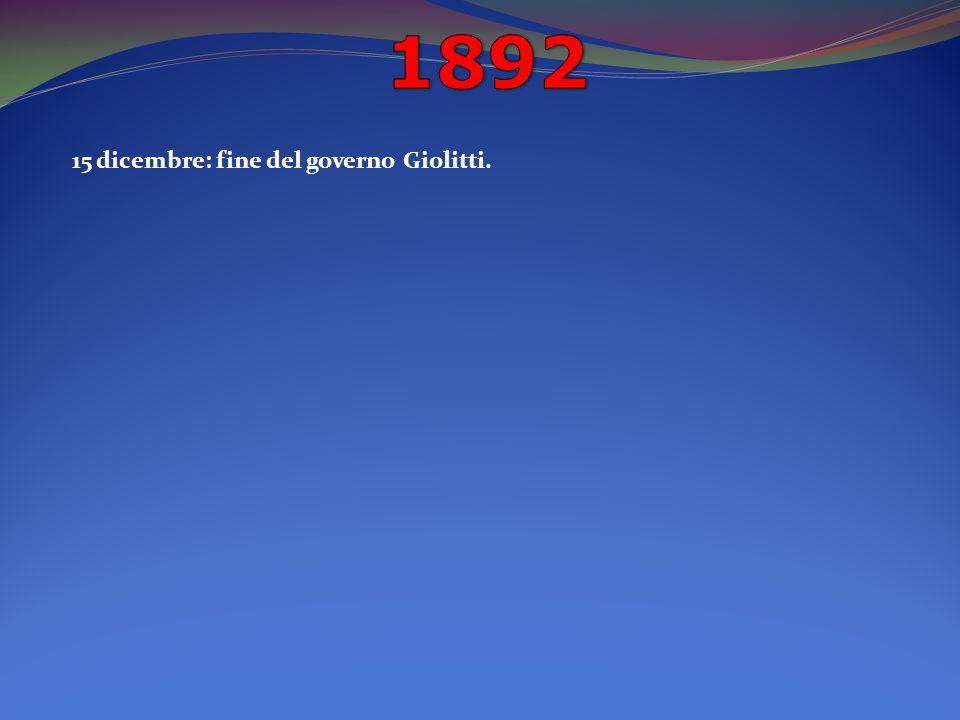 15 dicembre: fine del governo Giolitti.