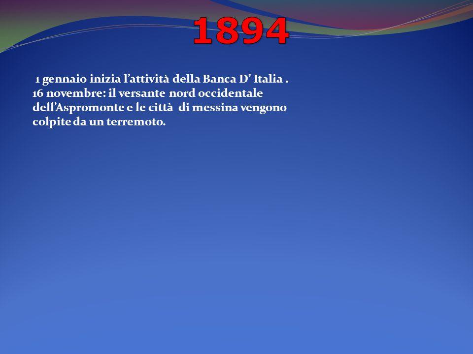 1 gennaio inizia lattività della Banca D Italia.