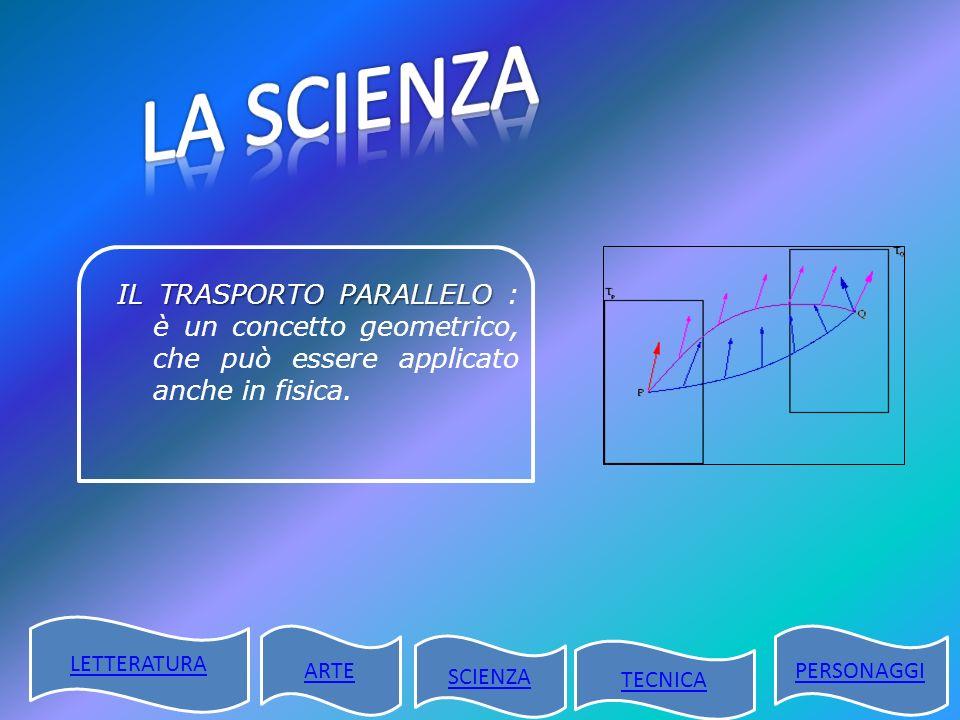IL TRASPORTO PARALLELO IL TRASPORTO PARALLELO : è un concetto geometrico, che può essere applicato anche in fisica. LETTERATURA ARTE SCIENZA TECNICA P
