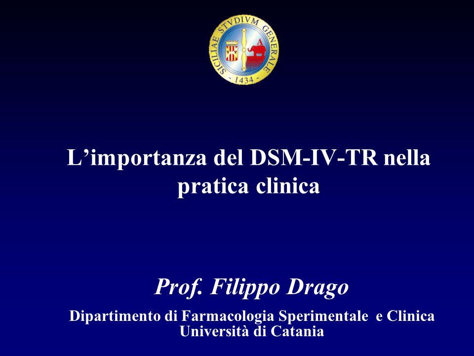 Limiti nelluso del DSM IV-TR e ICD-10 Il DSM IV-TR è nato negli USA per esigenze assicurative.