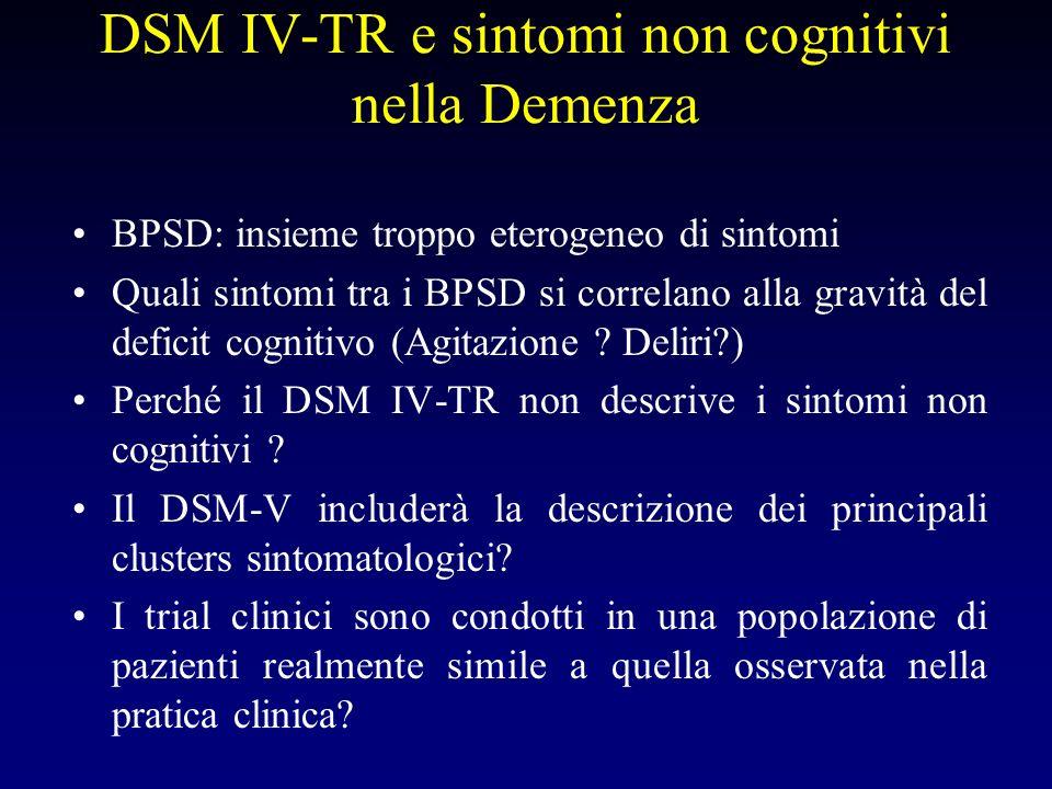 DSM IV-TR e sintomi non cognitivi nella Demenza BPSD: insieme troppo eterogeneo di sintomi Quali sintomi tra i BPSD si correlano alla gravità del deficit cognitivo (Agitazione .