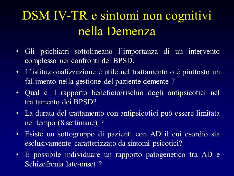 DSM IV-TR e sintomi non cognitivi nella Demenza Gli psichiatri sottolineano limportanza di un intervento complesso nei confronti dei BPSD.