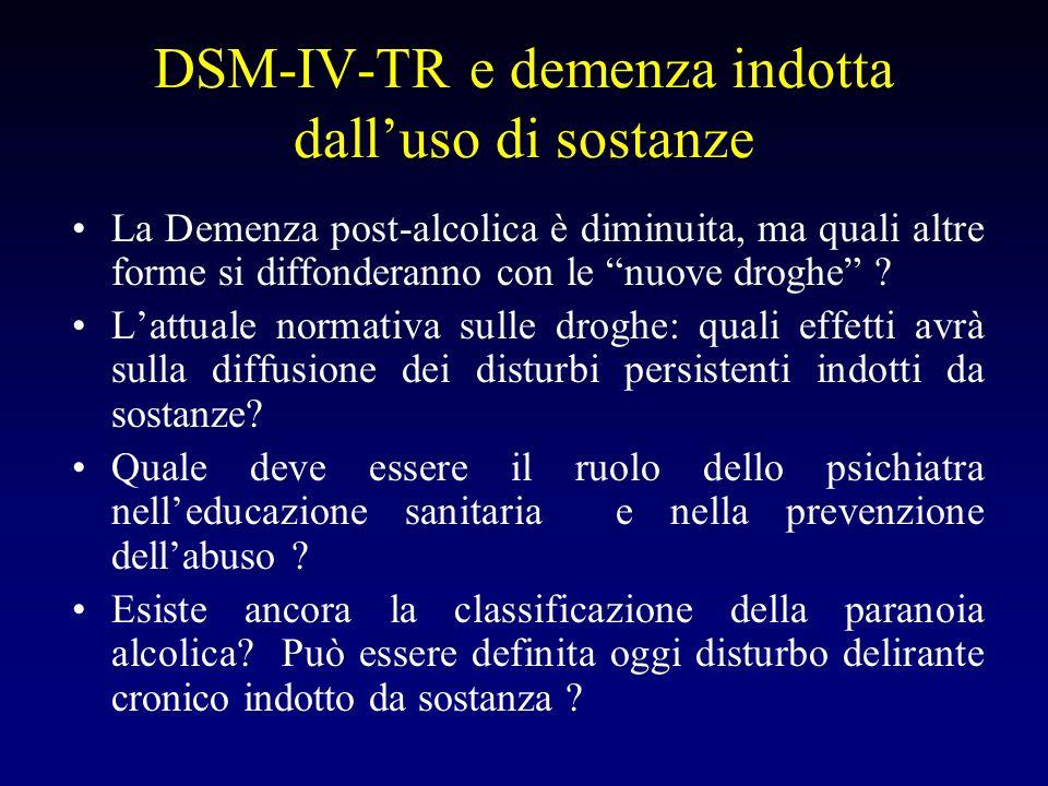 DSM-IV-TR e demenza indotta dalluso di sostanze La Demenza post-alcolica è diminuita, ma quali altre forme si diffonderanno con le nuove droghe .