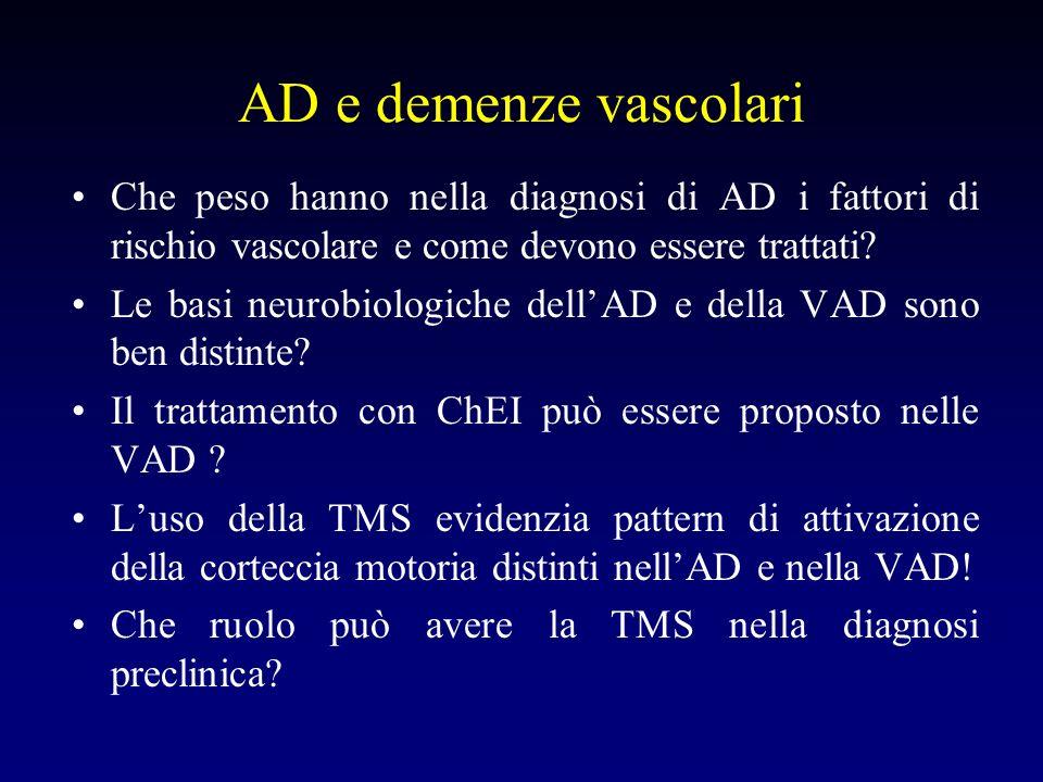 AD e demenze vascolari Che peso hanno nella diagnosi di AD i fattori di rischio vascolare e come devono essere trattati.